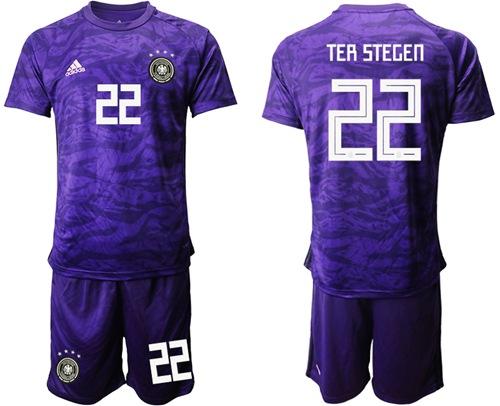 Germany #22 Ter Stegen Purple Goalkeeper Soccer Country Jersey