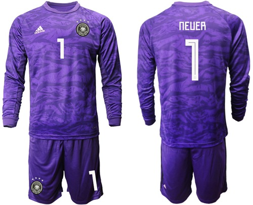 Germany #1 Neuer Purple Goalkeeper Long Sleeves Soccer Country Jersey