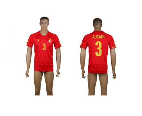 Ghana #3 A.Gyan Red Away Soccer Country Jersey