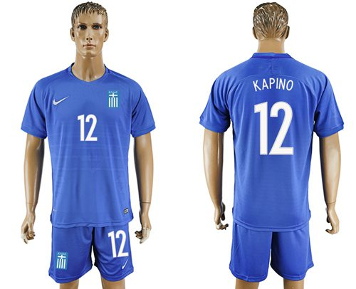 Greece #12 Kapino Away Soccer Country Jersey