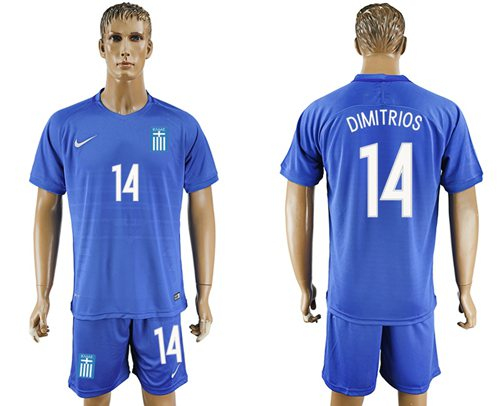 Greece #14 Dimitrios Away Soccer Country Jersey