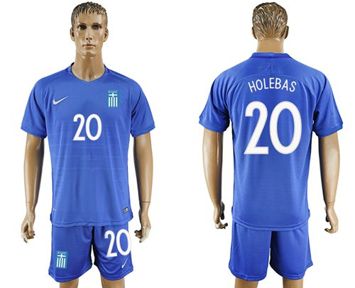 Greece #20 Holebas Away Soccer Country Jersey