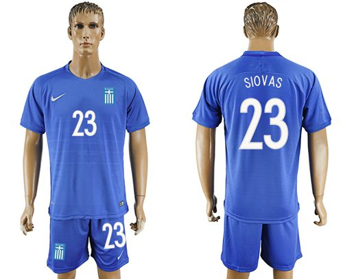 Greece #23 Siovas Away Soccer Country Jersey