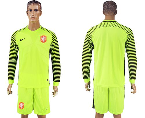 Holland Blank Green Long Sleeves Goalkeeper Soccer Country Jersey