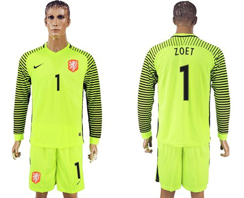 Holland #1 Zoet Green Long Sleeves Goalkeeper Soccer Country Jersey