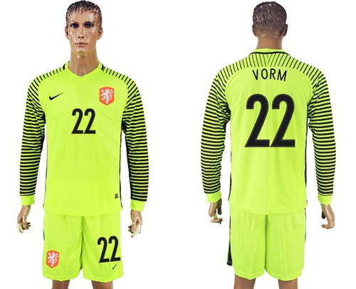 Holland #22 Vorm Green Long Sleeves Goalkeeper Soccer Country Jersey