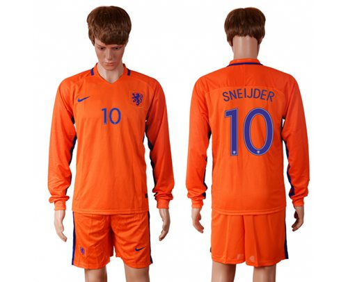 Holland #10 Sneijder Home Long Sleeves Soccer Country Jersey