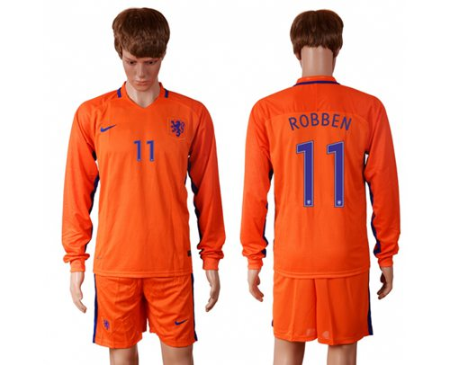 Holland #11 Robben Home Long Sleeves Soccer Country Jersey