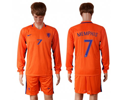 Holland #7 Memphis Home Long Sleeves Soccer Country Jersey