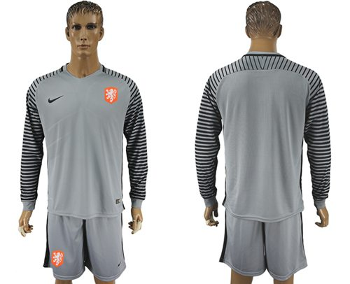 Holland Blank Grey Goalkeeper Long Sleeves Soccer Country Jersey
