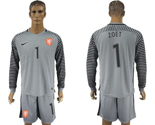 Holland #1 Zoet Grey Goalkeeper Long Sleeves Soccer Country Jersey