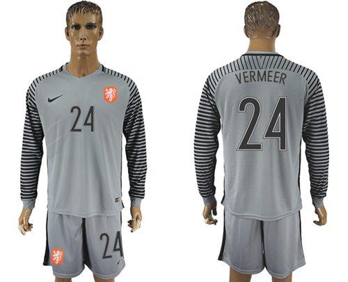 Holland #24 Vermeer Grey Goalkeeper Long Sleeves Soccer Country Jersey