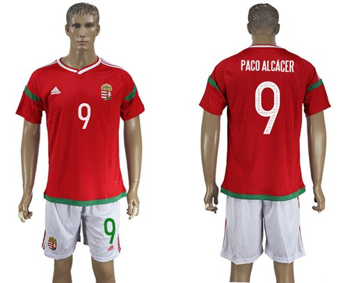Hungary #9 Paco Alcacer Home Soccer Country Jersey