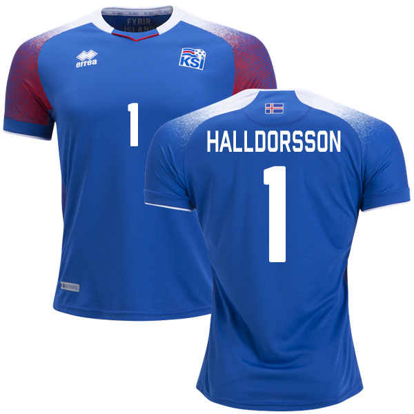 Iceland #1 Halldorsson Home Soccer Country Jersey