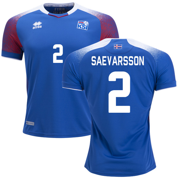 Iceland #2 Saevarsson Home Soccer Country Jersey
