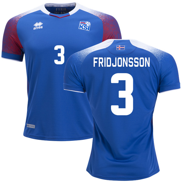 Iceland #3 Fridjonsson Home Soccer Country Jersey