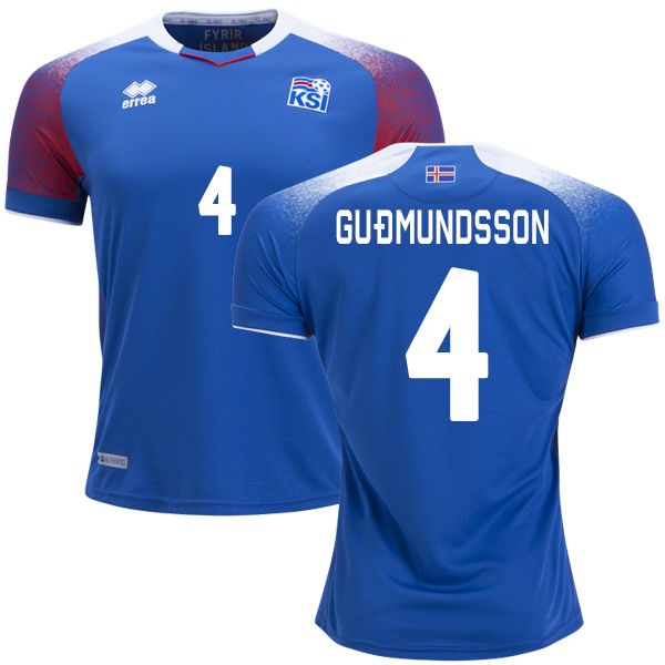 Iceland #4 Gudmundsson Home Soccer Country Jersey