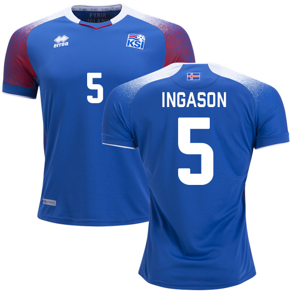 Iceland #5 Ingason Home Soccer Country Jersey