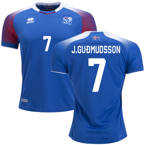 Iceland #7 J.Gudmudsson Home Soccer Country Jersey