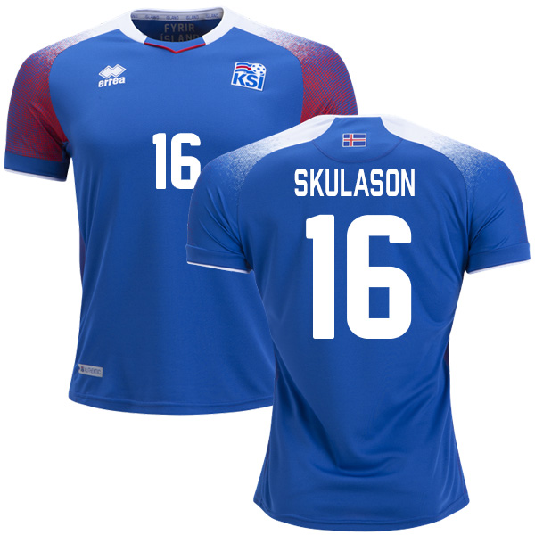 Iceland #16 Skulason Home Soccer Country Jersey