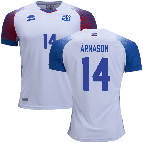 Iceland #14 Arnason Away Soccer Country Jersey