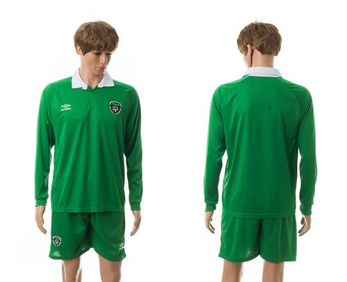 Ireland Blank Green Home Long Sleeves Soccer Country Jersey