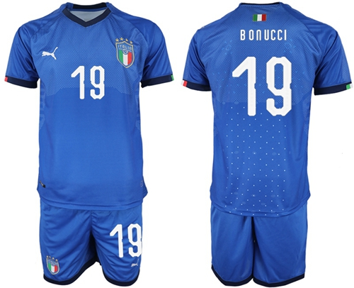 Italy #19 Bonucci Home Soccer Country Jersey
