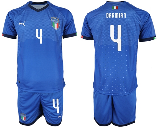 Italy #4 Darmian Home Soccer Country Jersey