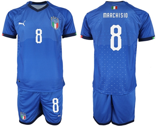 Italy #8 Marchisio Home Soccer Country Jersey