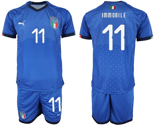 Italy #11 Immobile Home Soccer Country Jersey