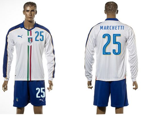 Italy #25 Marchetti White Away Long Sleeves Soccer Country Jersey