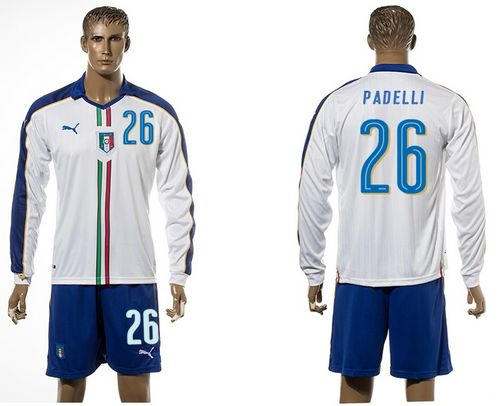 Italy #26 Padelli White Away Long Sleeves Soccer Country Jersey