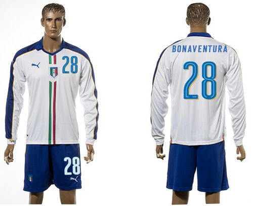 Italy #28 Bonaventura White Away Long Sleeves Soccer Country Jersey