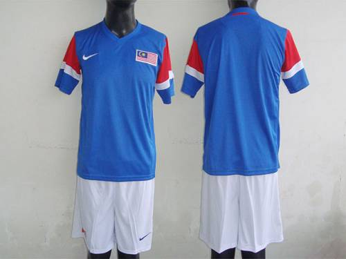 Malaysia Blank Blue 2011/2012 Away Soccer Country Jersey