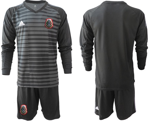 Mexico Blank Black Long Sleeves Goalkeeper Soccer Country Jersey