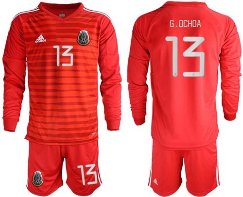 Mexico #13 G.Ochoa Red Long Sleeves Goalkeeper Soccer Country Jersey