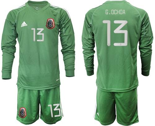 Mexico #13 G.Ochoa Green Long Sleeves Goalkeeper Soccer Country Jersey