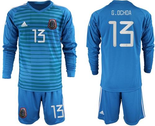 Mexico #13 G.Ochoa Blue Long Sleeves Goalkeeper Soccer Country Jersey