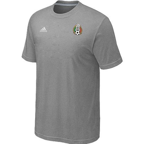 Adidas Mexico 2014 World Small Logo Soccer T-Shirt Light Grey