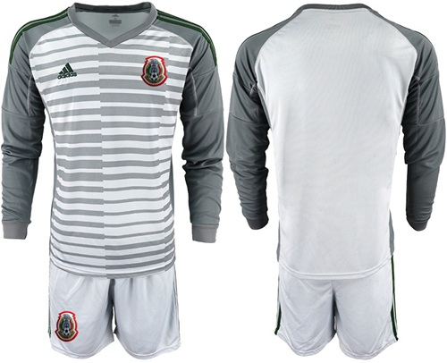 Mexico Blank Grey Long Sleeves Goalkeeper Soccer Country Jersey