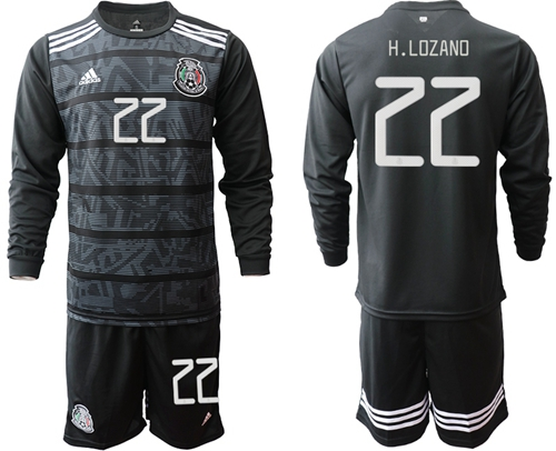 Mexico #22 H.Lozano Home Long Sleeves Soccer Country Jersey