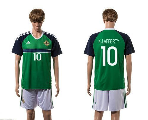 Northern Ireland #10 K.Lafferty Green Home Soccer Country Jersey