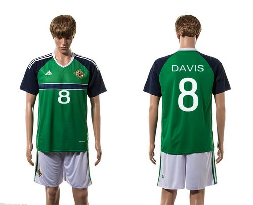 Northern Ireland #8 Davis Green Home Soccer Country Jersey