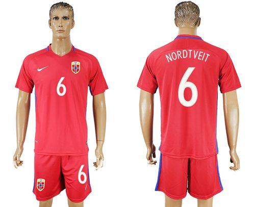 Norway #6 Nordtveit Home Soccer Country Jersey