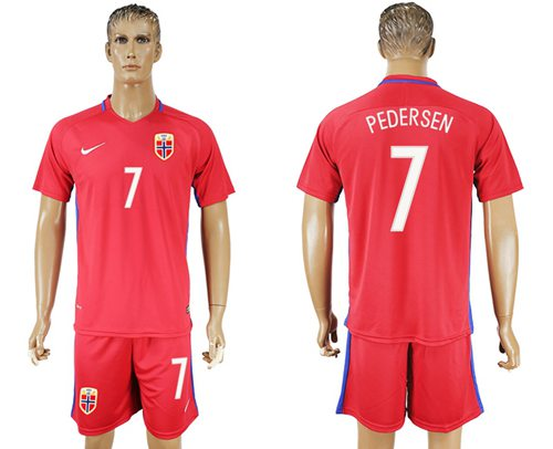 Norway #7 Pedersen Home Soccer Country Jersey