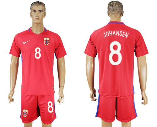 Norway #8 Johansen Home Soccer Country Jersey