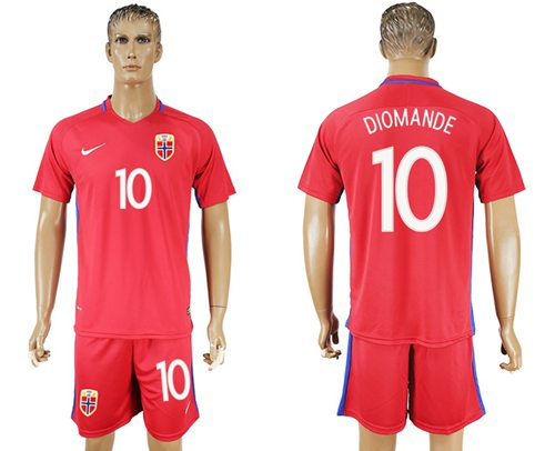 Norway #10 Diomande Home Soccer Country Jersey