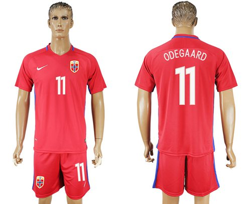 Norway #11 Odegaard Home Soccer Country Jersey
