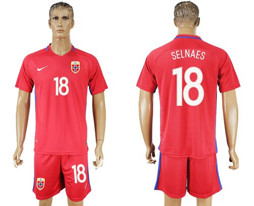 Norway #18 Selnaes Home Soccer Country Jersey