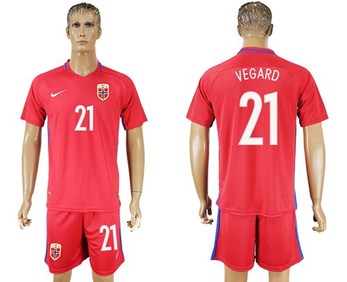 Norway #21 Vegard Home Soccer Country Jersey